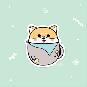 Happy Doggo in a Mug Sticker