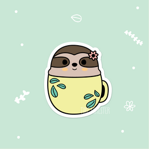 Smiley Sloth in a Mug Sticker