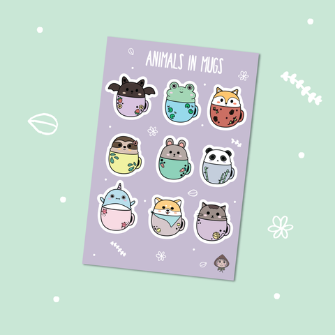 Animals in Mugs Sticker Sheet