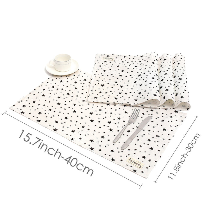 STAR Washable Cotton Linen Placemat Square Stain-proof Set of 4 Eat Mat for Kids Use - Caroeas