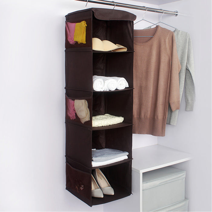 Clothes Organizer Hanging Bathroom Shelves 2 Colors Available with Metal Hooks - Caroeas