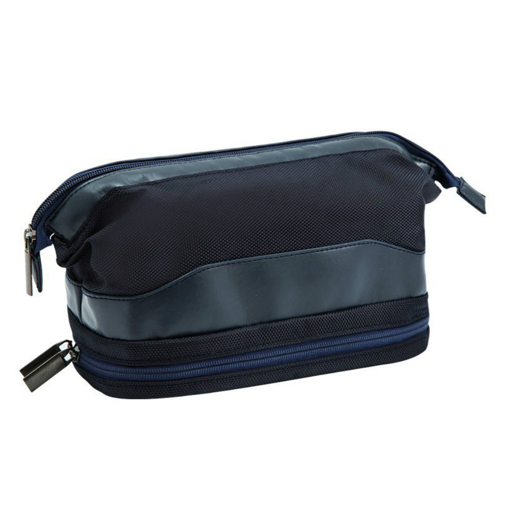 Mens Toiletry Bag Double Layer with Zipper Closure and Classic Design - Caroeas