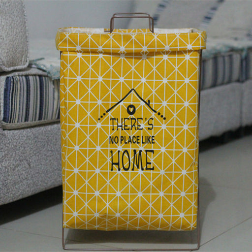 Colorful Wording Decorative Hamper Portable Storage Bag on Metal Stand - Caroeas