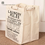 Foldable Square Laundry Basket Cotton Linen Storage Hamper With Thick Cotton Rope