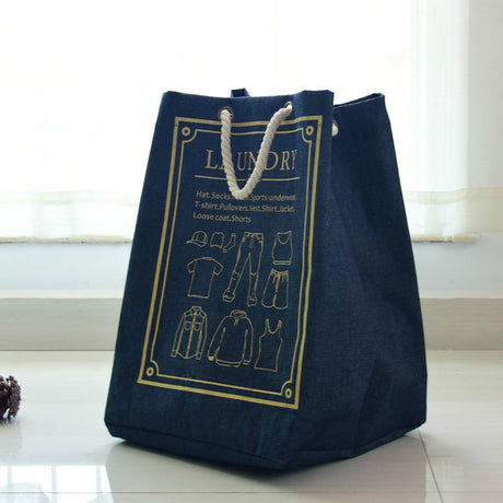 Collapsible Denim Fabric Laundry Basket Waterproof Organization Bag Square Tote Bag - Caroeas
