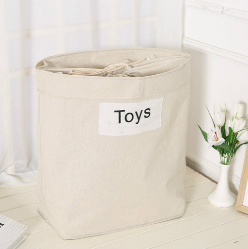 Natural Cotton Linen Kids Toy Storage Basket Drawstring Closure Laundry Bag Collapsible - Caroeas