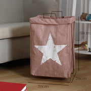 Metal Frame Laundry Storage Basket Multi-functional Tall Hamper Slim Laundry Cart Star Design