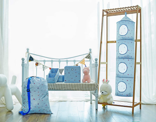 Set of 5 Hanging Organizer for Kids Flexible Baby Supply Storage (Blue) - Caroeas