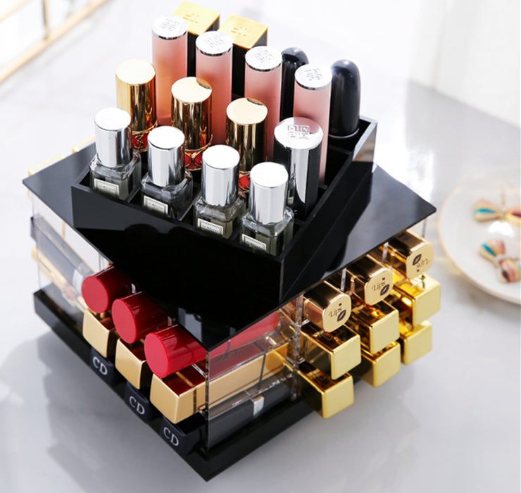 Clear Makeup Organizer for Lip Gloss with Spacious Cubes and Various Sizes Including Rotating Design - Caroeas