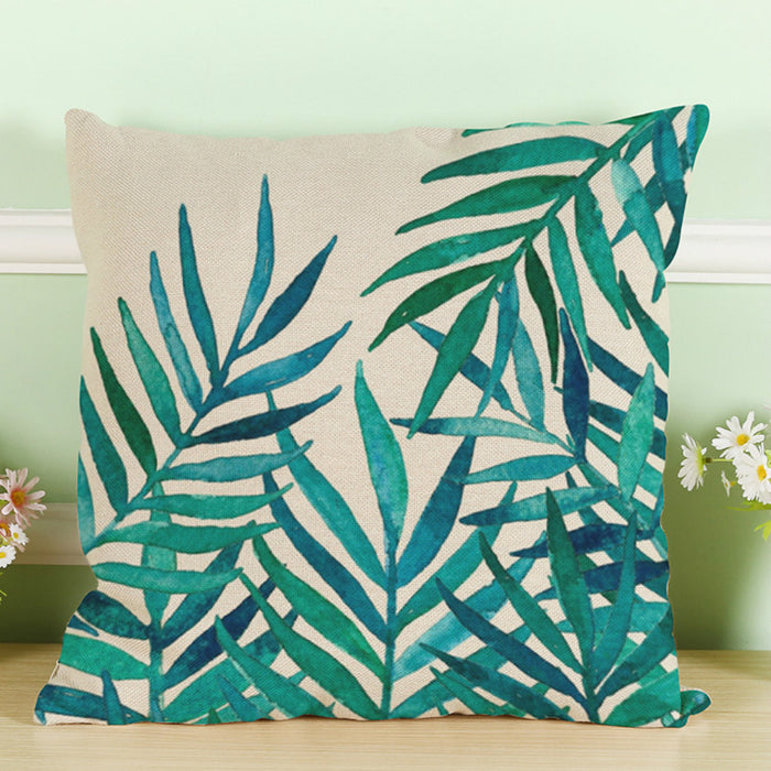 Tropical Linen Green Cushion Covers 18 x 18 Ideal Replacement Throw Pillow Cover for Patio and Home - Caroeas