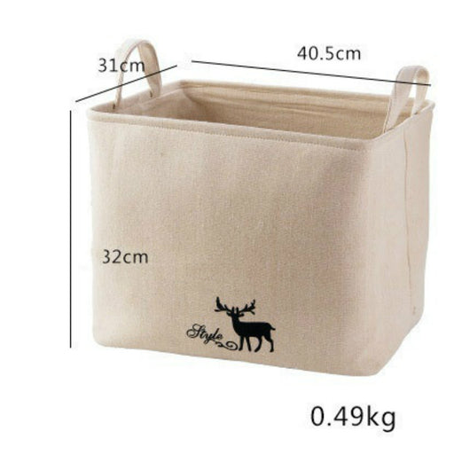 3 Sizes Deer Pattern Fantastic Quality Cotton Linen Basket Delicates Laundry Bag Collapsible Storage Basket - Caroeas