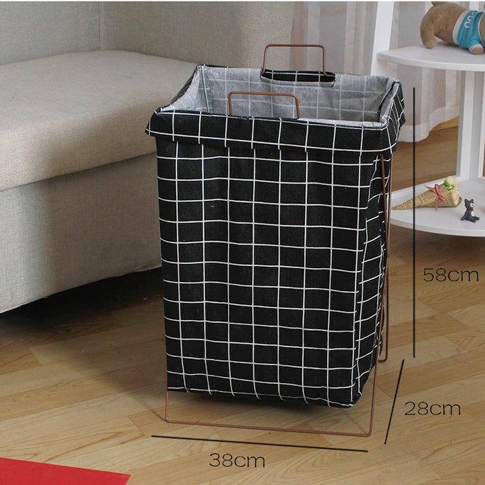 Nordic Style Metal Frame Laundry Room Basket Portable Laundry Containers - Caroeas