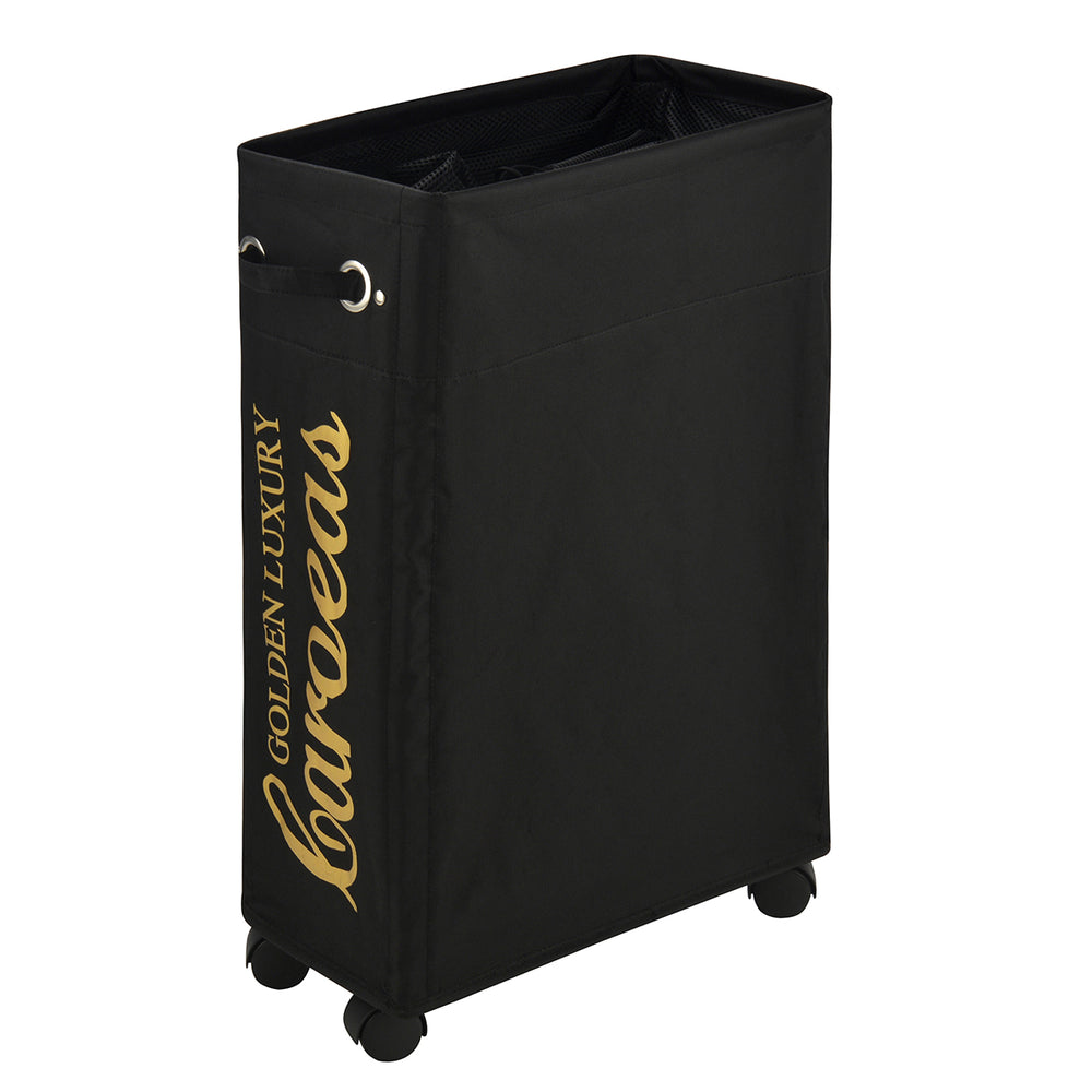 Laundry Basket with Wheels Waterproof Laundry Basket Collapsible with Cover(Black Gold) - Caroeas
