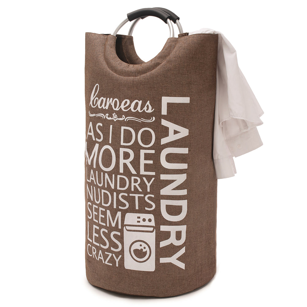 Laundry Tote Padded Handle Foldable Laundry Hamper with Note Card Pocket Canvas Brown - Caroeas