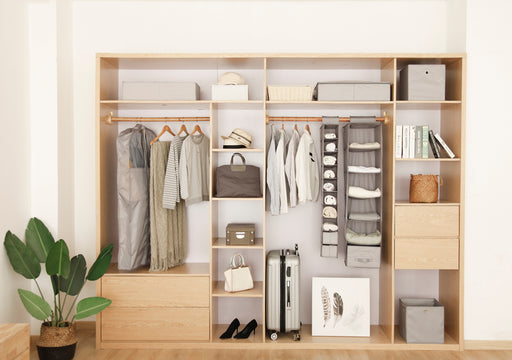 Sleek and Long Hanging Closet Shelves with 10 Shelving Units Using Vertical Space - Caroeas