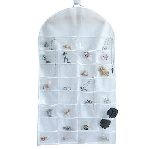 Over the Door Jewelry Organizer Large Hanging Design with 64 Pockets to Save More Space - Caroeas