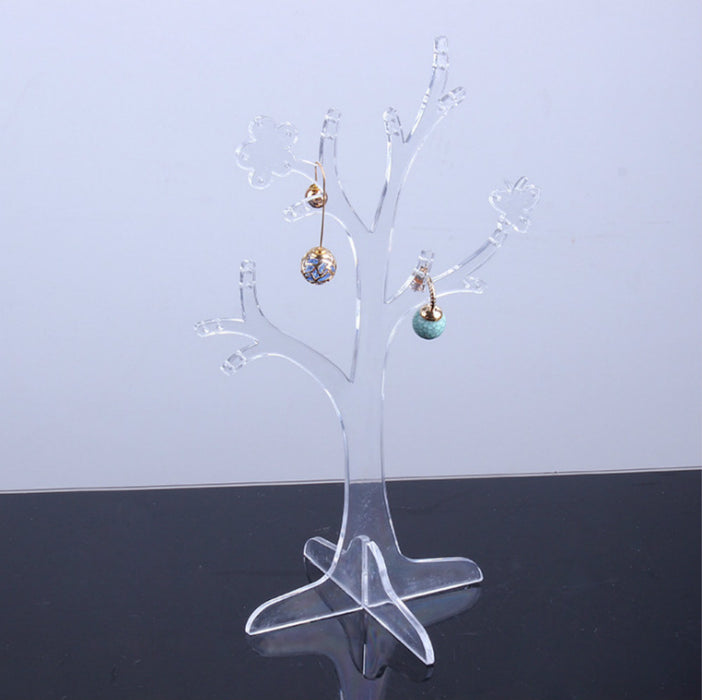 Acrylic Jewelry Organizer Tree Accessories Holder Detachable Design with Clear Material - Caroeas