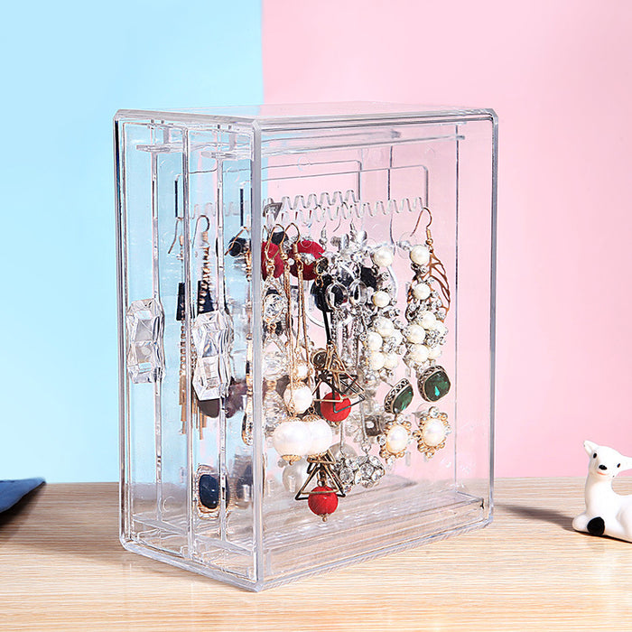 Girls Jewelry Box Clear Standing Design with 2 Panels for Earrings Storage - Caroeas