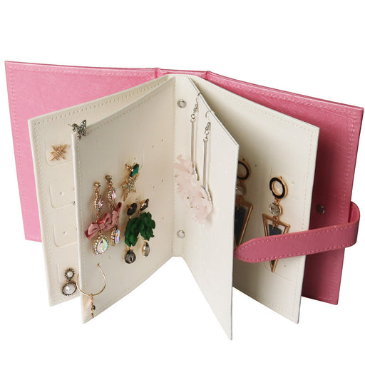 Leather Jewelry Box Earring Storage Book Hold 42 Pairs of Accessories with Ease - Caroeas