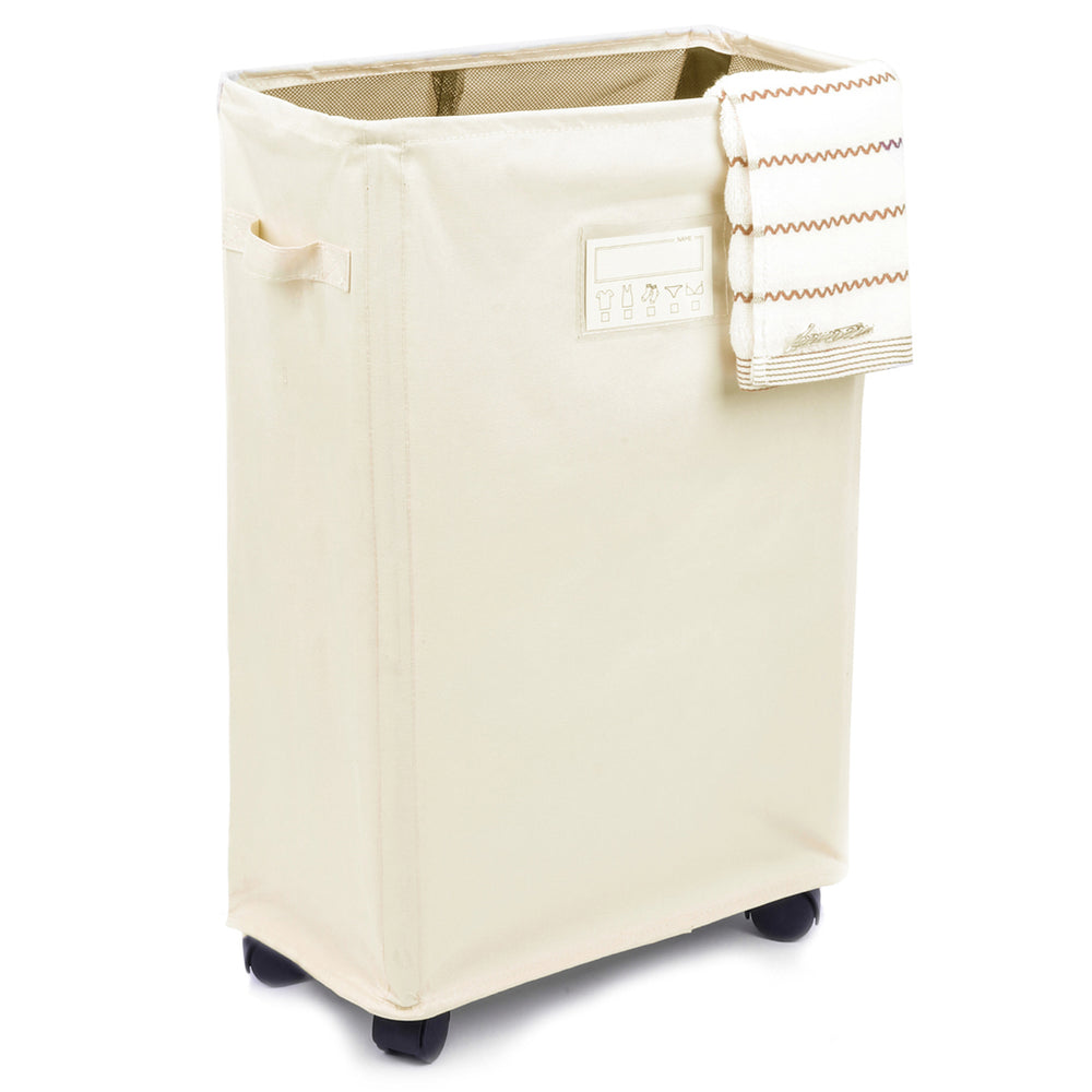 Rolling Laundry Cart Waterproof Laundry Hamper Detachable with Card Pocket (White) - Caroeas