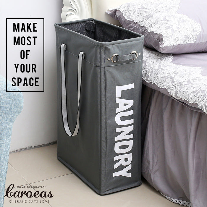 Collapsible Laundry Basket with Soft Handles Slim Hanging Organizer for Narrow Space (Grey) - Caroeas