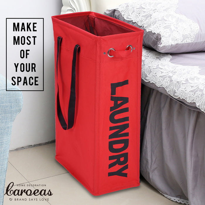 Foldable Laundry Basket with Long Handles Hanging Laundry Hamper for Narrow Space (Red) - Caroeas
