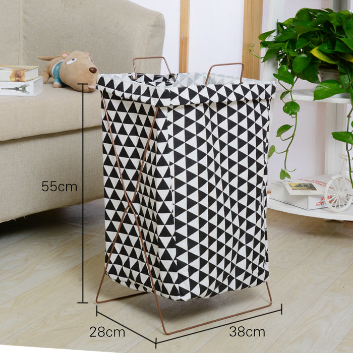 Multiple Triangles Metal Stand Storage Basket Stable High Capacity Laundry  Storage