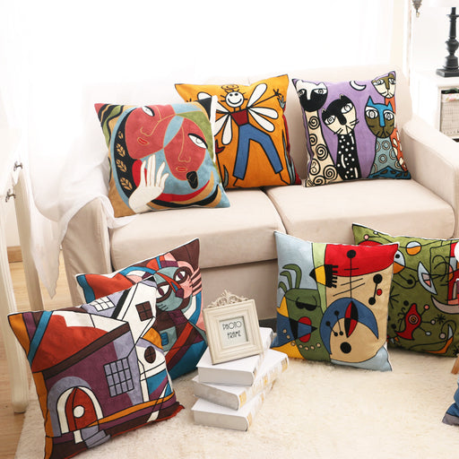 Picasso Art Embroidery Zippered Throw Pillow Covers Wool Threads Soft Touch - Caroeas