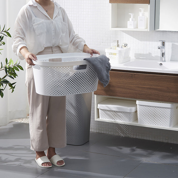 Big Plastic Laundry Basket with 4 Handles and Airhole for Closet or Bathroom - Caroeas