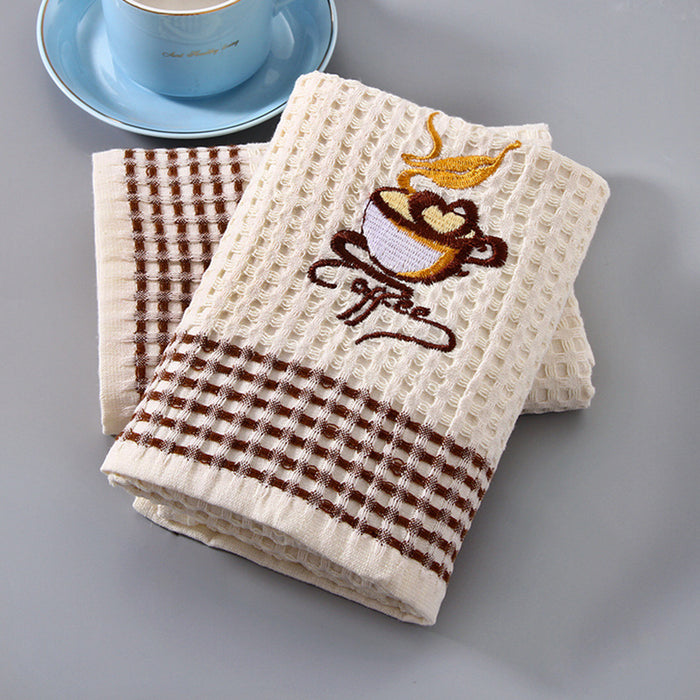 Cotton Kitchen Towels with Ultimate Soft Thick Material and Coffee Pattern for Comfortable Skin Touch - Caroeas