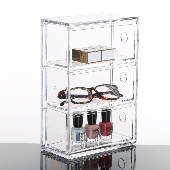 Makeup Organizer Case for Vanity and Jewelry with Large Capacity and Clear Design - Caroeas