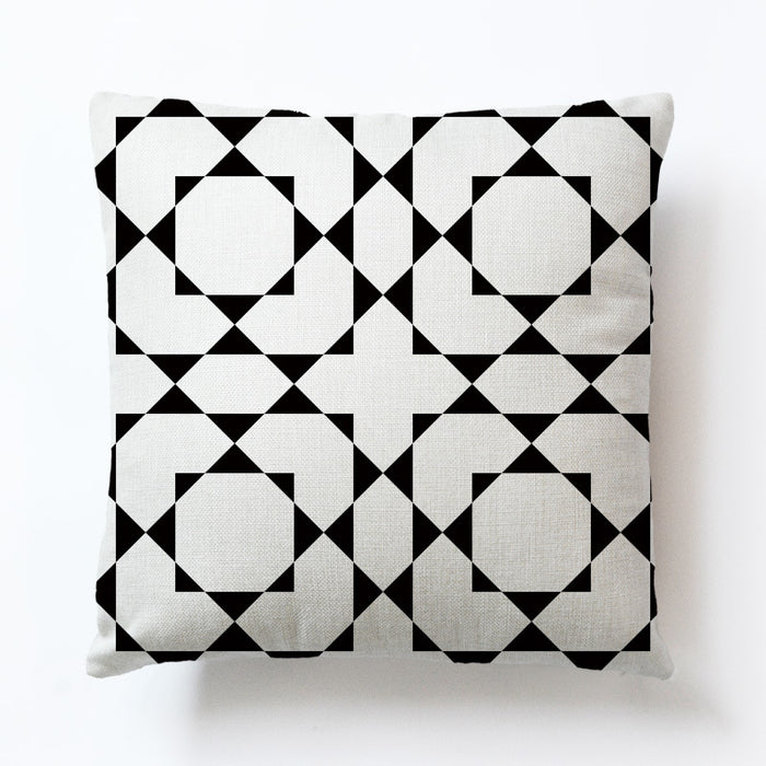 Throw Pillow Covers 18x18 Decorative White Black Designs with Zipper and Modern Style for Bedroom and Living Room - Caroeas