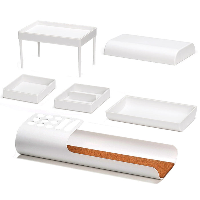 All in One Desk Organizer with Creative Design to Make Storage Effective (White) - Caroeas