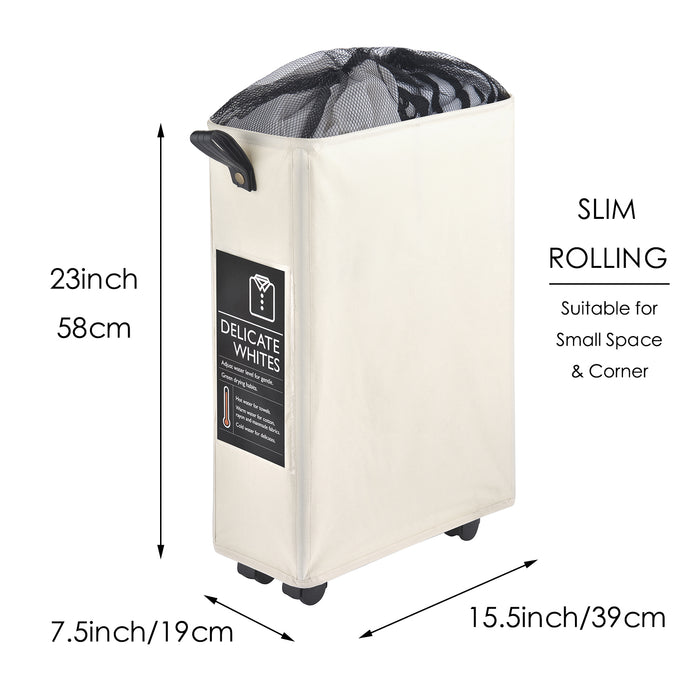 Laundry Hamper Slim Rolling Laundry Basket Collapsible with Leather Handle & 6 Cards(Slim) - Caroeas