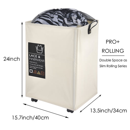 Clothes Hamper on Wheels with Big Card Pocket & Leather Handle & Brake(Pro) - Caroeas