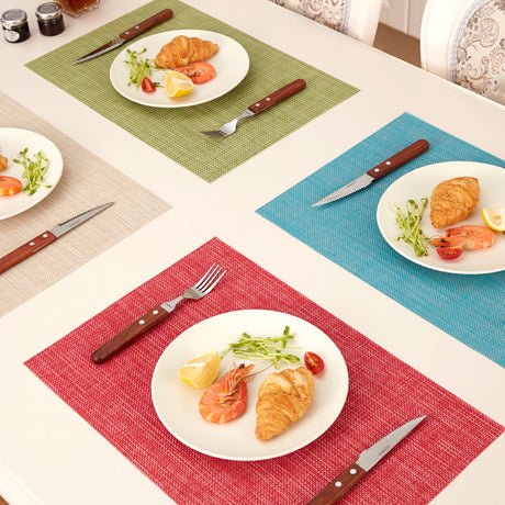 PVC Vinyl Placemats, Cup Placemat , Decorative Placemats for Kitchen Table Dinner 6 Colors - Caroeas