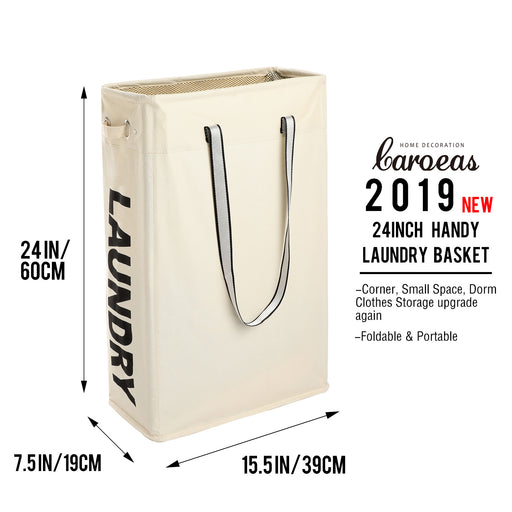 Portable Clothes Hamper with Long Handles Hanging Hamper Slim for Corner Space (Beige)