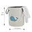 Kids Hamper Easy Clean Canvas Laundry Bag with Handles Blue Whale White Cover - Caroeas