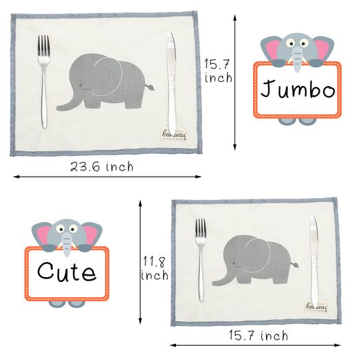 Elephant Cute Placemat Fabric Stain-resistant Table Mat Non-slip Washable Placemat Set of 4 mixed sizes - Caroeas