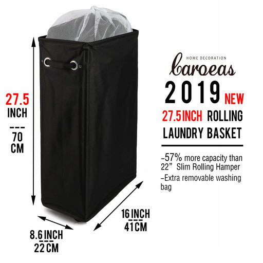 Laundry Hamper on Wheels Waterproof Thin Laundry Basket with Removable Mesh Bag (Black) - Caroeas