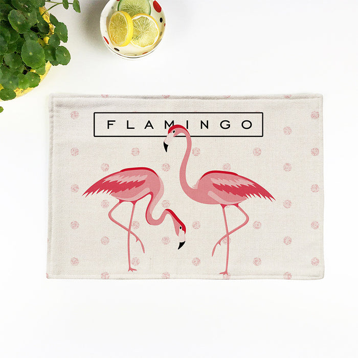 Flamingo Linen Placemats Originality Square Home Placemats Food Safe & Heat Insulation - Caroeas