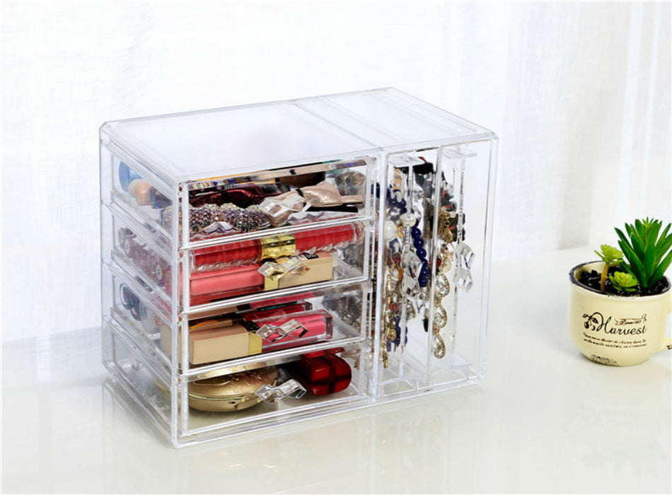 Modern Jewelry Box for Makeup and Accessory Storage with 4 Drawers and 2 Panels - Caroeas