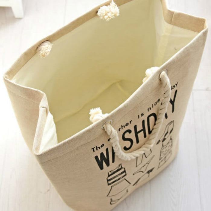 Square laundry Basket Thick Cotton Linen Fabric hamper Foldable Organization Tote - Caroeas