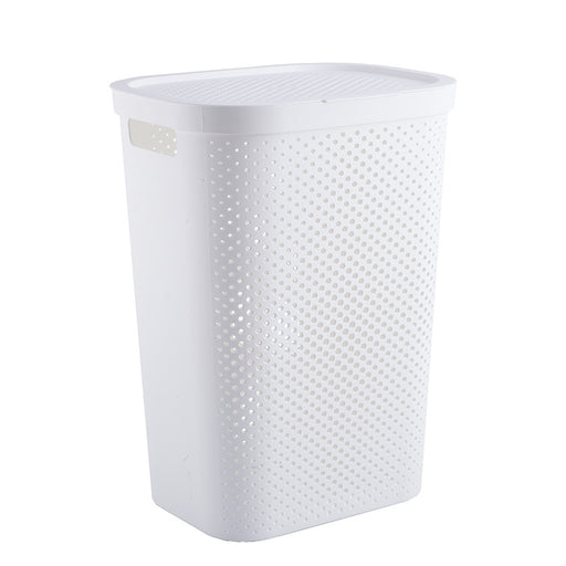 Large Plastic Laundry Hamper with Lid Breathable Laundry Basket with Airhole White & Grey - Caroeas