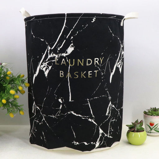 4 Colors Marbling Design Laundry Bag Fabric Laundry Basket Foldable Laundry Hamper - Caroeas