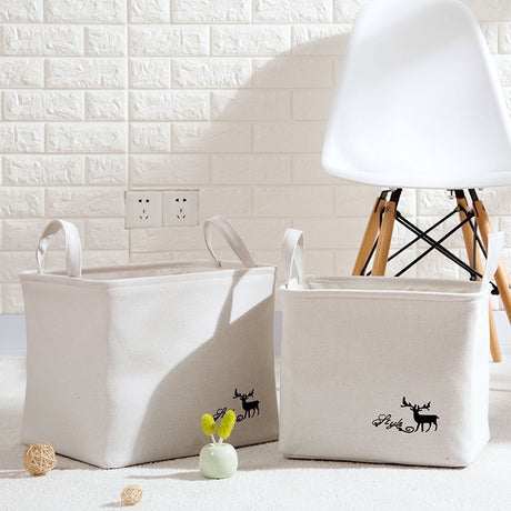 3 Sizes Deer Pattern Fantastic Quality Cotton Linen Basket Delicates Laundry Bag Collapsible Storage Basket