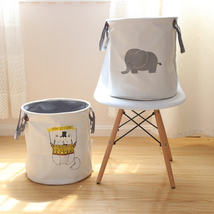 Natural Material Baby Clothes Hamper Collapsible Cloth Hamper Thickened Cotton Fabric ( Yellow Cat ) - Caroeas