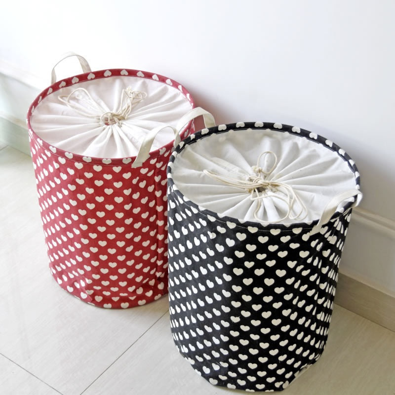 Small Hearts Fabric Laundry Storage Basket Round Laundry Hamper - Caroeas