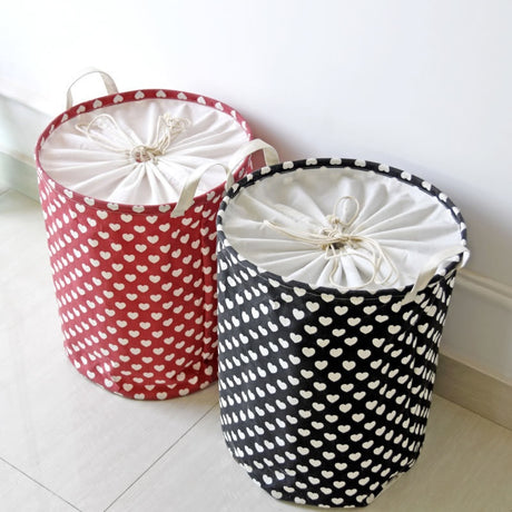 Small Hearts Fabric Laundry Storage Basket Round Laundry Hamper