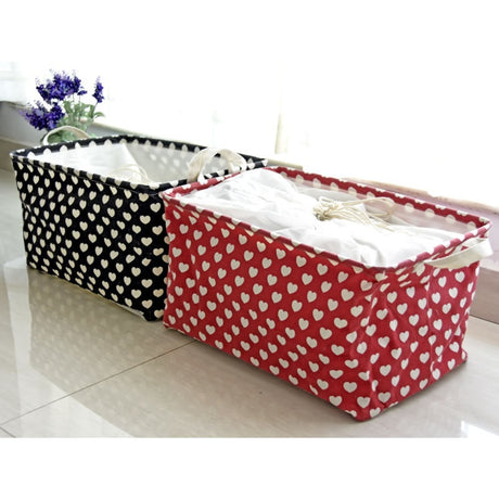 Small Hearts Square Laundry Basket Waterproof Clothing Hamper Black Red - Caroeas
